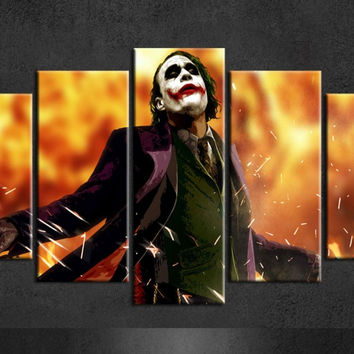 Batman Joker Poster Wall Painting Canvas Art Group Poster Of 5 Piece Canvas Art For Living Wall Art Canvas Paintings