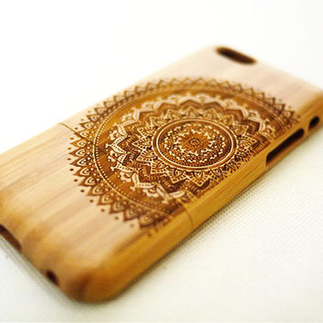 Dark Bamboo Mandala Wood iPhone 6 Case - Real Wood iPhone 6 Case - Wooden iPhone 6 Case - iPhone 6 Case Wood - iPhone 6 Wood Case - Gift