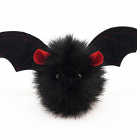 Vlad the Vampire Bat Fluffy Plushie Stuffed Toy Animal - 4x5 Inches Small Size