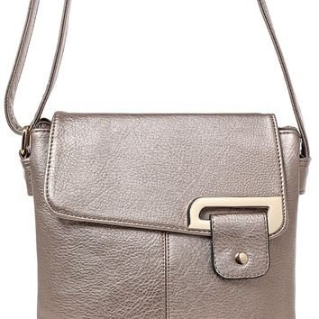 Double Compartment Cross Body Bag in Bronze