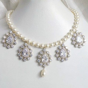 Bridal Necklace Ivory Swarovski Pearl Cubic Zirconia Sterling Silver Necklace - Bianca N4 Wedding Jewelry Edwardian Charm