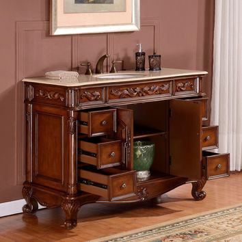 "Silkroad Exclusive 48"" Single Sink Cabinet Bathroom Vanity Set"