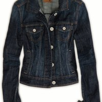 AEO Women's Dark Denim Jacket (Dark Wash)