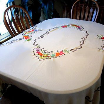 Vintage Fruit Tablecloth, Ugly, Oval, Embroidered Fruit