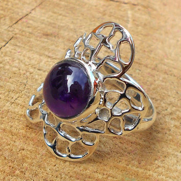 Amethyst Ring - Designer Silver Ring, Cut Stone Ring, Designer Ring,Top Selling Ring