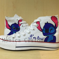 Lilo & Stitch Custom Converse /Converse Sneakers/ Hand-Painted On Converse Shoes /canvas shoes/sneakers/For men  women kids