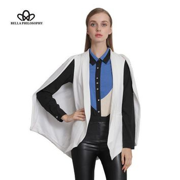 Bella Philosophy 2016 Autumn Winter Wine Red Navy Blue White Black New Women's Shawl Blazer Cape Jacket
