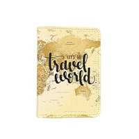 Let's Go Travel The World Passport Holder -Leather Passport Cover - Vintage Passport Wallet - Travel Accessory Gift - Travel Wallet for Women and Men_LOKISHOP