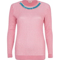 Pink textured necklace jumper - jumpers - knitwear - women