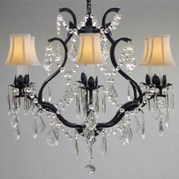 "WROUGHT IRON CRYSTAL CHANDELIER CHANDELIERS LIGHTING H 19"" W 20"" - WITH WHITE SHADES! - A83-WHITESHADES/3530/6"