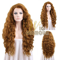 "Long Curly 24"" Golden Brown Lace Front Hair Wig Heat Resistant"