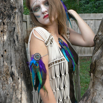 dreamcatcher arm chain  armlet peacock and purple feathers native  inspired