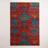 Rita Ikat Hand-Knotted Area Rug - World Market