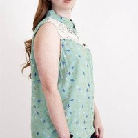 Graceful Wings Bird Print Lace Yoke Sleeveless Blouse in Mint | Sincerely Sweet Boutique