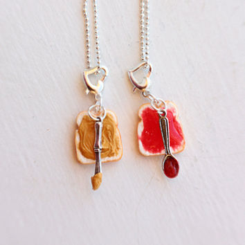 Peanut Butter and Strawberry Jelly Best Friends Necklaces, Charm Pendants, Charm Necklace, Food Jewelry