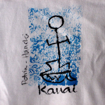 Kauai, Hawaii Hand Painted Surfer (Surfa) on blue Cotton T Shirt for boys girls 6 mo. - 6/8