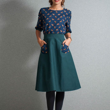 Midi dress, ducks dress, petrol dress, geese pattern, 40s dress, midi sleeve dress, buttons dress