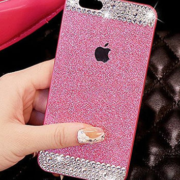 iPhone 5C Case, ARSUE (TM) Beauty Luxury Hybrid Bling Rhinestone Diamond Crystal Glitter Hard Case Cover Shell Phone Case for Apple iPhone 5C (Pink + Bling, iphone 5C)