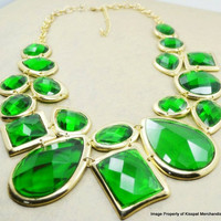 Green Statement Necklace, Monet Inspired Bib Necklace, Bridesmaids Gifts, Wedding Gift, Chunky Necklace Jewelry