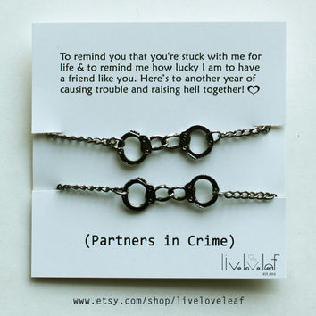 NEW BFF matching Handcuffs bracelets in Gunmetal Partners in crime gift ideas for her,  Best Friends jewelry Graduation gifts, 50 shades