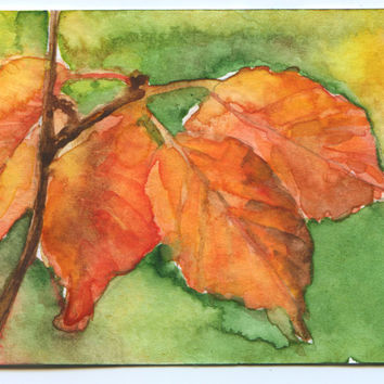 Fall Leaves Watercolor ACEO