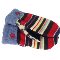 WOOL SWEATER MITTENS Recycled Sweaty Mitts Women's Blue Red White Black Handmade in Wisconsin Gift Upcycled Stripes Fleece Lined Floral