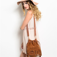 Fringe Cross Body Bag- Camel