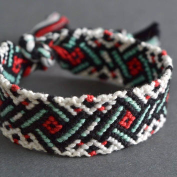 Handmade woven macrame friendship wrist bracelet with patterns