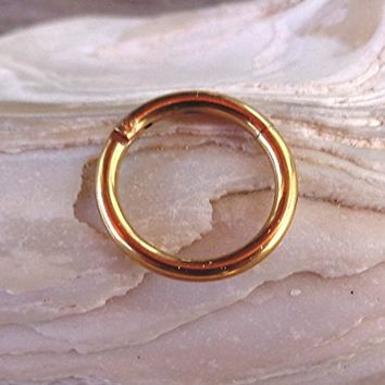 Hinged Segment Ring,Seamless,Endless Septum Ring,Tragus Piercing Jewelry,Helix,Cartilage,Scaffold,Upper Ear,Segment Ring,Lip Ring,Nipple Ring,Endless Hoop Earring Color Gold.16 Gauge(1.2mm).Diameter:8mm