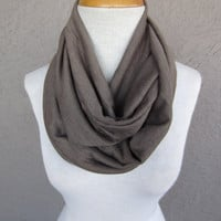 Light Brown Infinity Scarf - Taupe Circle Scarf - Beige Sweater Scarf