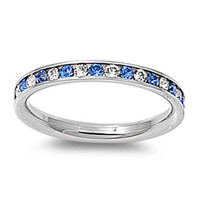 Lulu's Stainless Steel Saphire & Clear CZ Stackable Eternity Ring