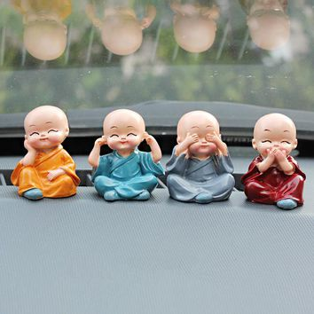 4pcs Creative Small Monk Doll Car Decoration For Car Ornaments Auto Interior Accessories Car-Styling Resin Gift Chinese Martial