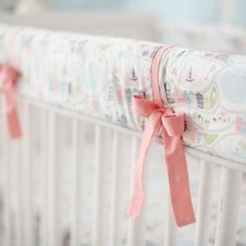 Rail Cover | Coral In the City Baby Bedding Set
