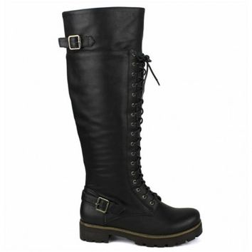 Isabel-06 Black Knee high Lace up Combat Boots