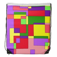 Retro Colorful Abstract Drawstring Bag