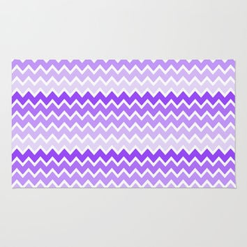 Purple Ombre Chevron Area & Throw Rug by decampstudios