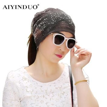 New Arrival Korean Style Women Winter Sleeve Caps Ladies Two Layer Multi Purpose Snow Pattern Maternity Cap Lace Slouchy Beanies