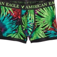 AEO Men's Tropical Leaves Low Rise Trunk (Black)
