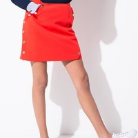 Red Buttoned Mini Skirt
