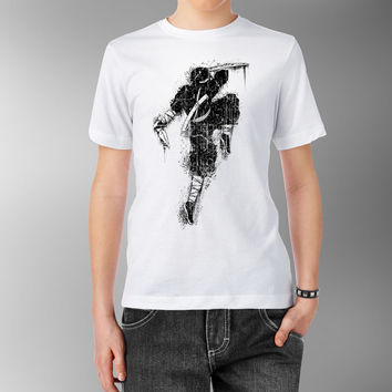 Black Ninja with Knife Katana Japanese Dark China Asian Traditional White 100% cotton T shirt t-shirt tee Digital Print