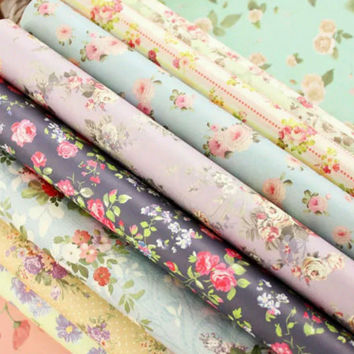 Flower Gift Wrapping Paper Book - 24 Sheets of Floral Patterns for Wrapping
