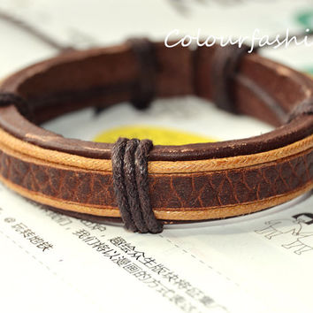 Christmas gift, Winter Gift, Brown Leather Cuff Waxed Cotton Cord Wrap Bracelet