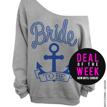 Anchor Bride - Gray with Blue Off The Shoulder Slouchy Sweatshirt