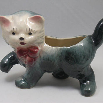 Vintage 50s Persian Kitty Cat Kitten Ceramic Planter Gray and White with Pink Bow
