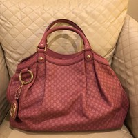 NEW Gucci Signature Leather Satchel Bag In Pink Red