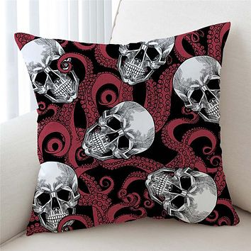 Red Skull Cushion Cover Octopus Tentacles Hand Decorative Pillow Case