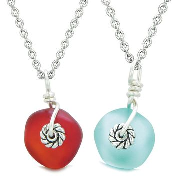 Twisted Twincies Cute Small Sea Glass Lucky Charms Love Couples BFF Set Aqua Blue Cherry Red Necklaces