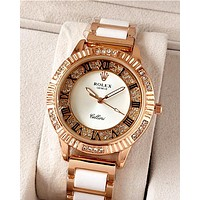 ROLEX Tide brand women's diamonds high-end fashion wild quartz watch white