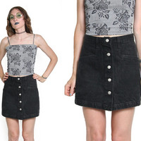 90s Black Denim Skort - Mini Skirt - Jean Shorts - 90 1990s - High Waisted Shorts - High Waist Skort - Button Up - Soft Grunge Goth Club Kid