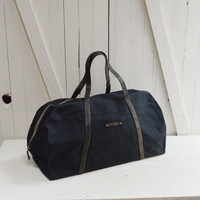 Waxed Canvas Weekender, Travel Bag: Coal, antique military leather.